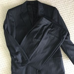 Jos A. Bank charcoal pinstripe suit